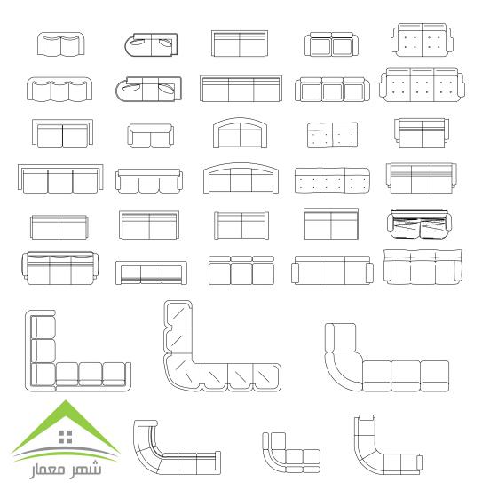 بیش از 1000 مبلمان برای طراحی نقشه های ساختمانی
